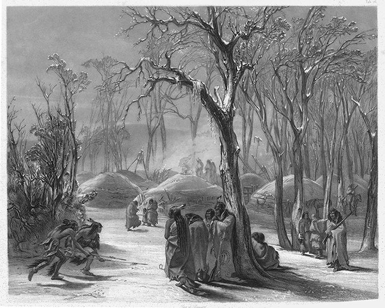 "Karl Bodmer's ""Winter Village of the Minatarees."