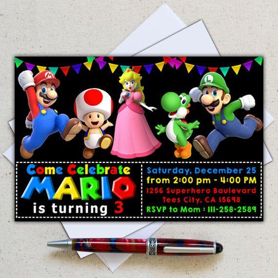 Super Mario Invitation, Super Mario Instant Download, Super