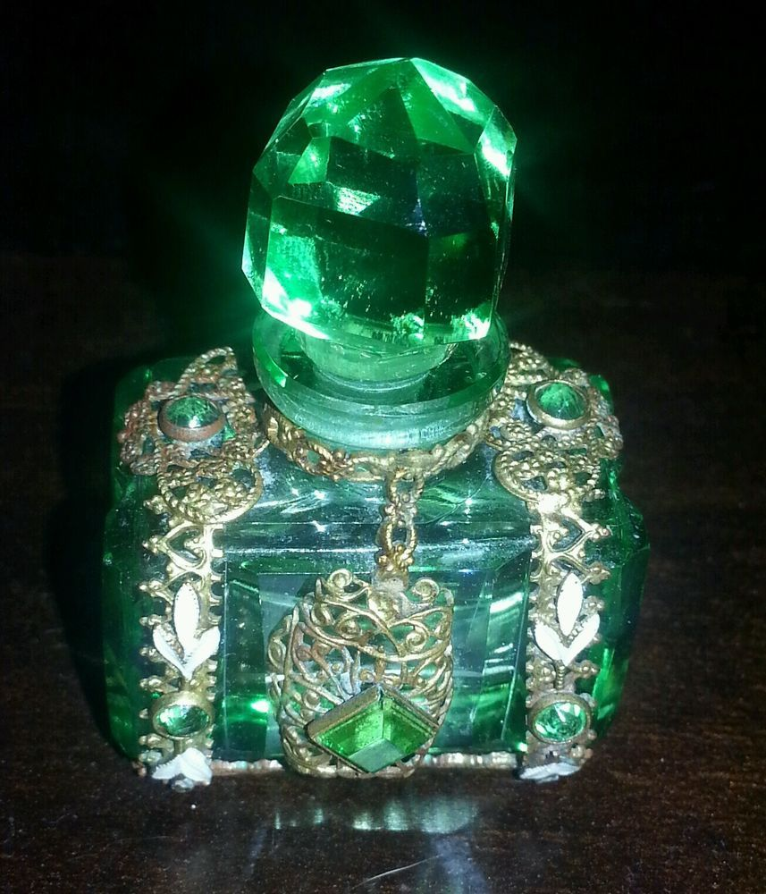 1920s 1930s Czech Bohemian Mini Green Crystal Perfume Bottle in Collectables, Vanity/ Perfume/ Grooming, Perfumes | eBay