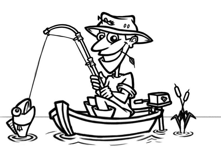 Cartoon Fisherman In Boat Cartoon Fish Cartoon How To Draw Hands