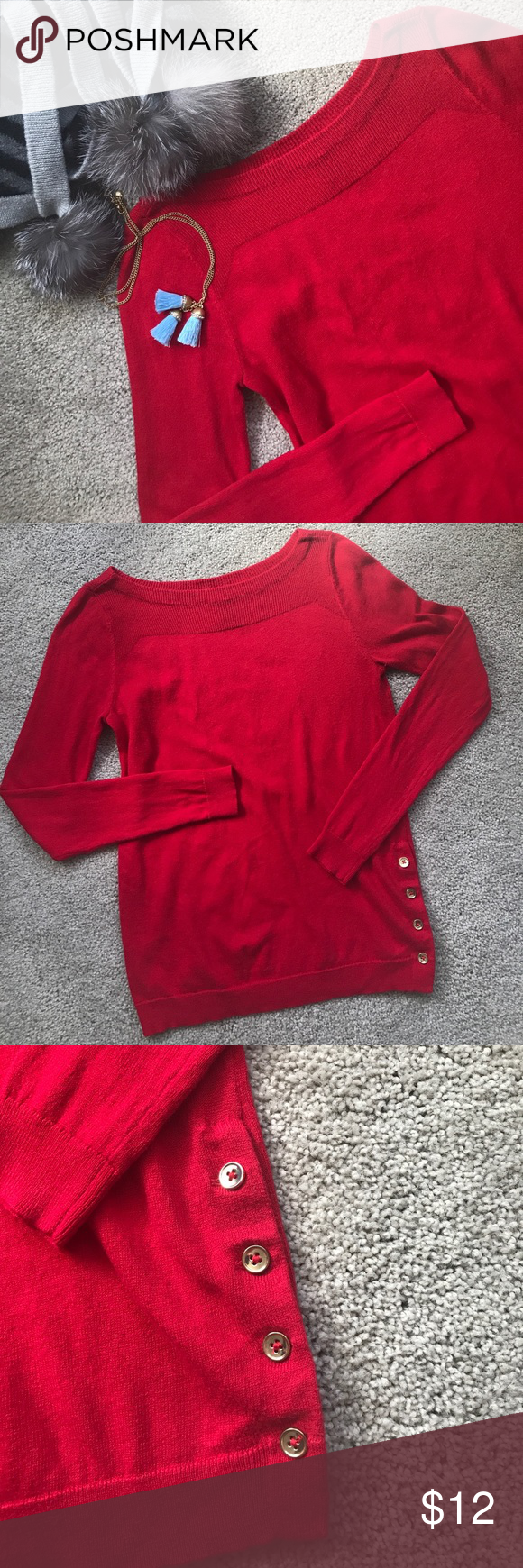 Ann Taylor Sweater Beautiful cherry red sweater will fit nicely in ...