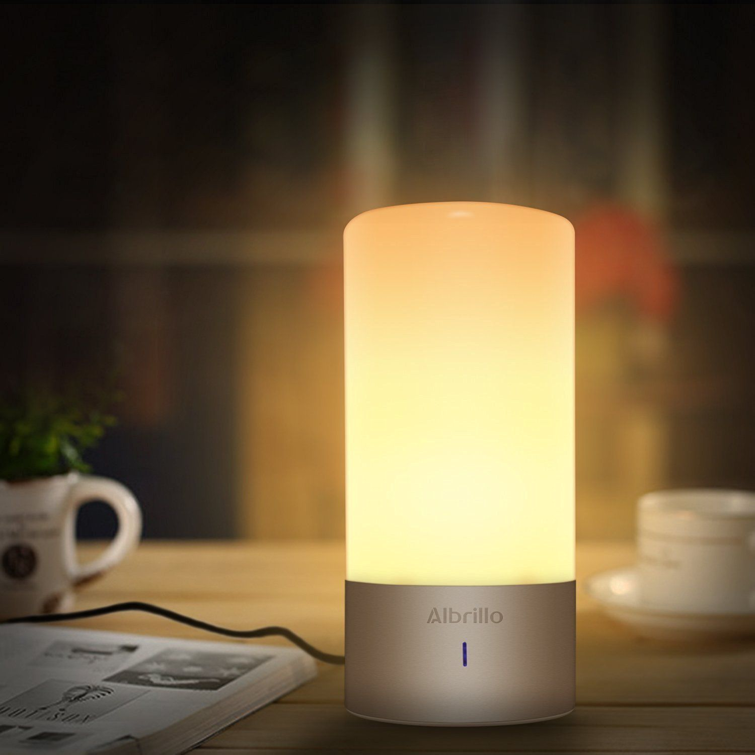 Albrillo Dimmable Bedside Lamp With Touch Sensor And Color