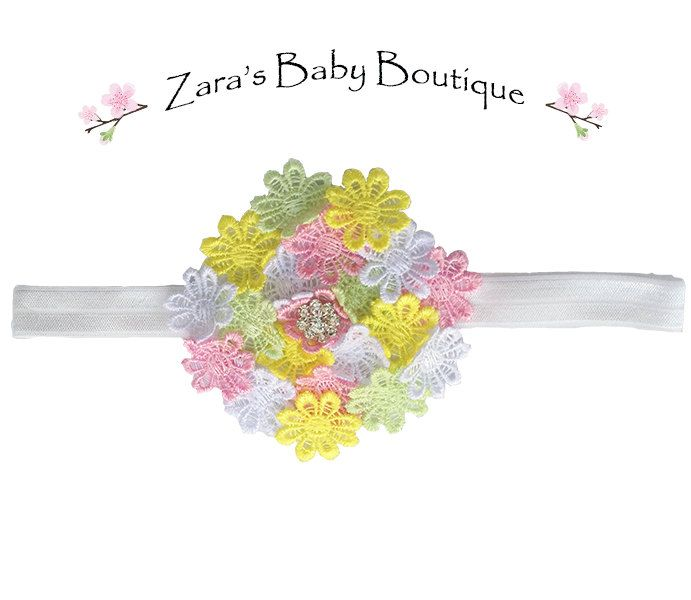 Flower Headband - Daisy Headband - Multi Colour Headband - Shabby Chic - Cake Smash Headband - Baby - Toddler - Girls - Zara Baby by ZarasBabyBoutique on Etsy