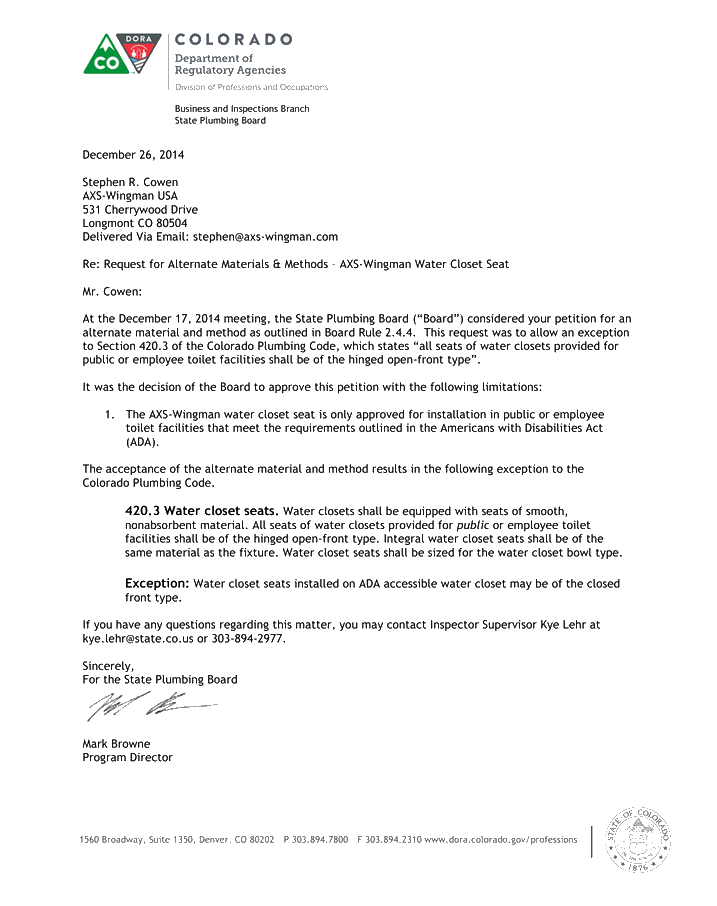 This is the approval letter from the Colorado State