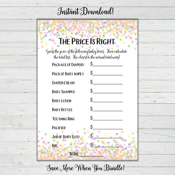 The Price Is Right Baby Shower Game Rainbow Confetti Baby Shower