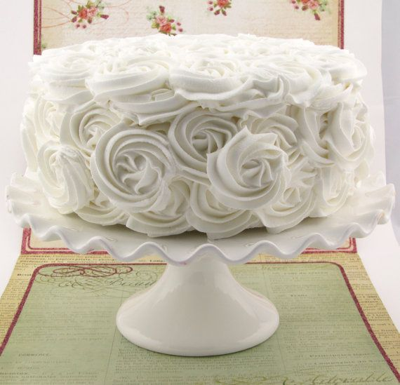 White Rosette Fake Cake Approx. 9w x 4.25h by 12LegsCuriosities