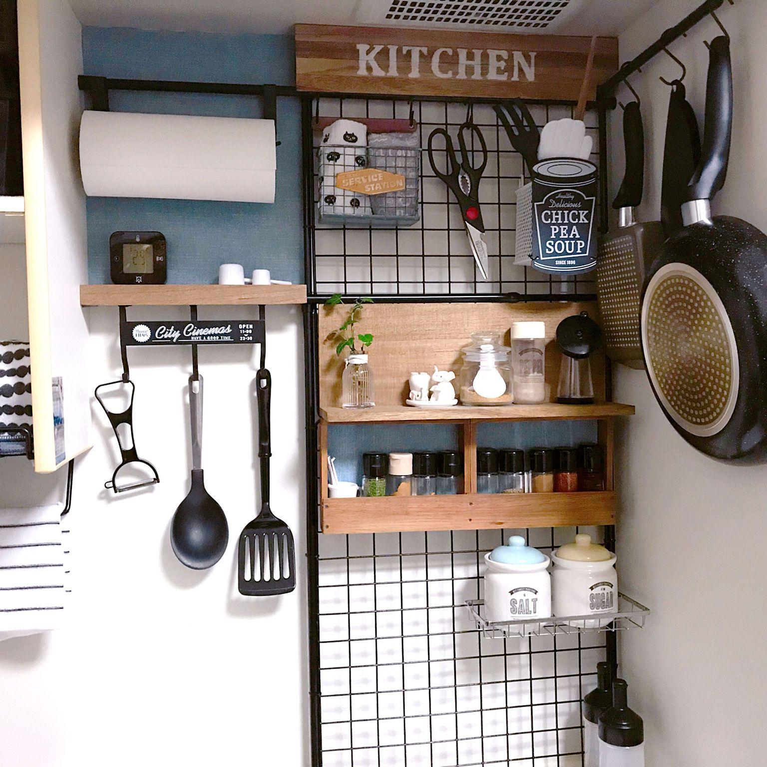 キッチン フライパン収納 つっぱり棒 ワイヤーネット 良かったらブログ