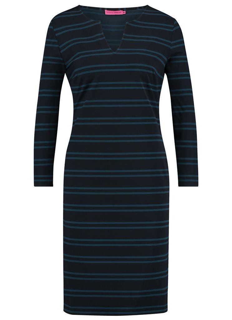 bc482402cf8107 Studio Anneloes flex stripe dress 02325 Dames kleding Jurken groen € 90