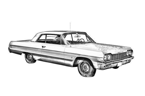 1964 chevrolet impala muscle car illustration prints