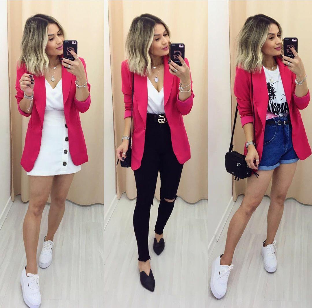 Look com blazer pink Saia branca e blazer pink calça preta e blazer pink short mom jeans e blazer pink