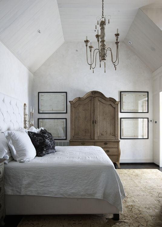 Simple Master Bedroom With Great Armoire And Chandelier  Bedroom Simple Simple Master Bedroom Design 2018
