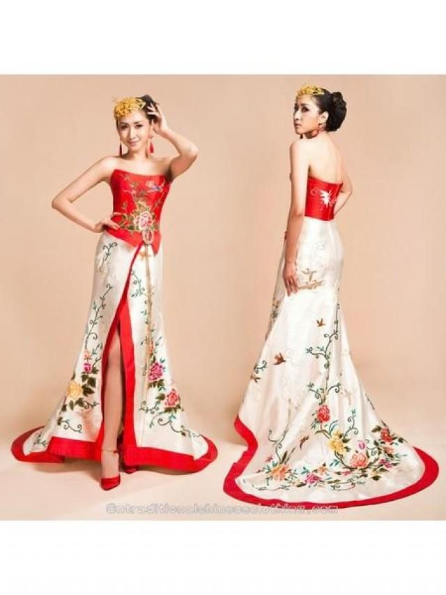 Asian Inspired Red And White Embroidered Halter Bridal Wedding Dress Custom Made Only