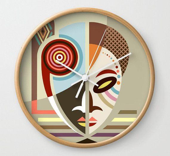 African Mask Decor African Mask African Decor Clock African Wall Art Clock African