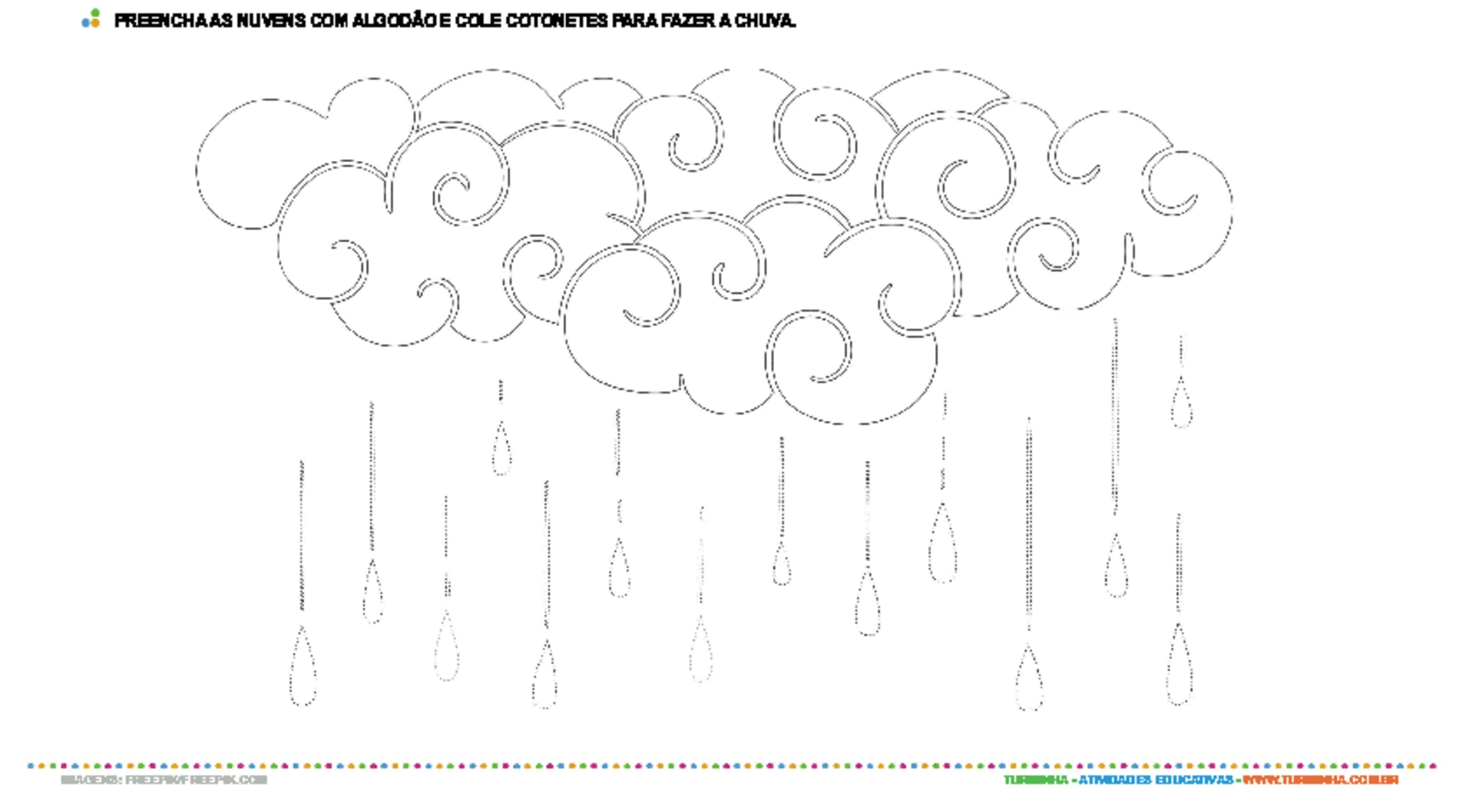 Colagem Com Algodao E Cotonetes Nuvem Atividade Educativa Para