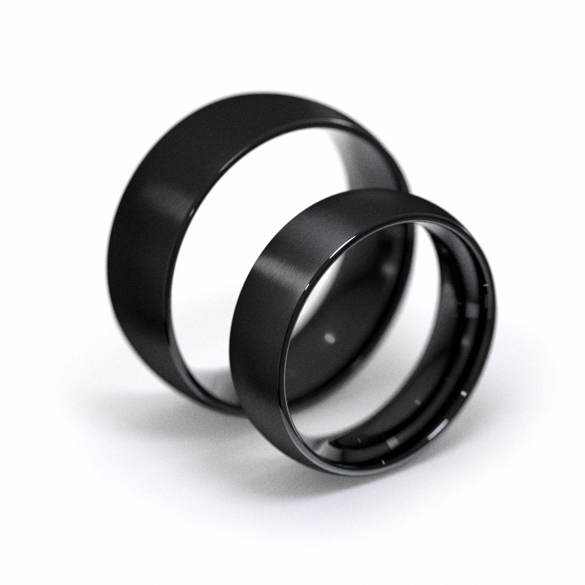 Black Tungsten Rings Set, Brushed Matte Finish, Plain