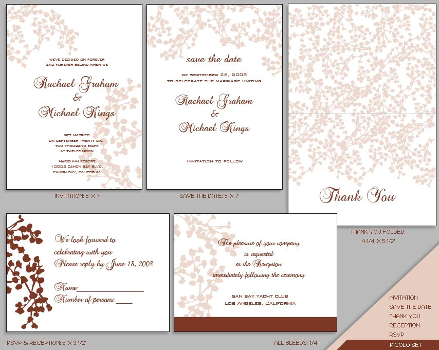 Wedding Invitation Templates Free Download Psd Invitation Set Picolo
