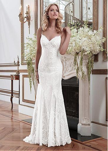 Elegant Lace Spaghetti Straps Neckline Sheath Wedding Dresses Dress Sheeth