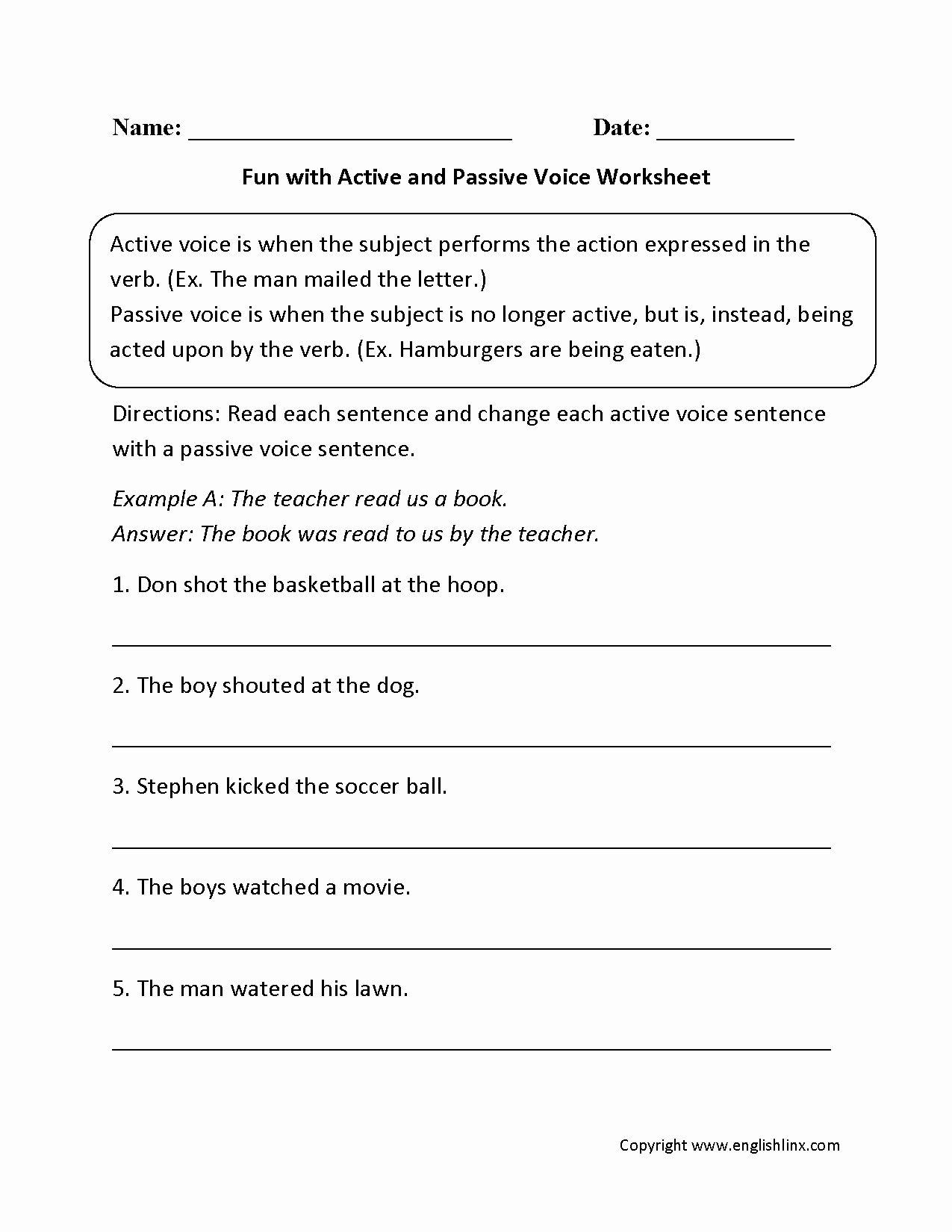 Active Passive Voice Worksheet Best Of Englishlinx