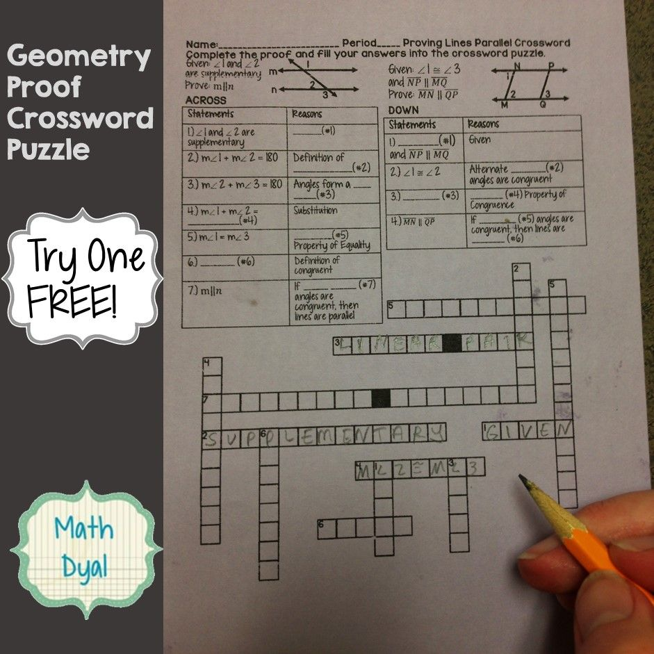 Geometry Proof Crossword Puzzle Are A Fun Way To Practice And Scaffold Proof Writing Geometry Proofs Teaching Geometry Proof Writing