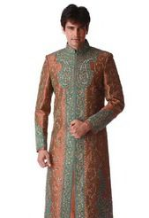 Deep Brown  Art Silk Embroidered Sherwani. Utsav Fashion.com - USD $260.00