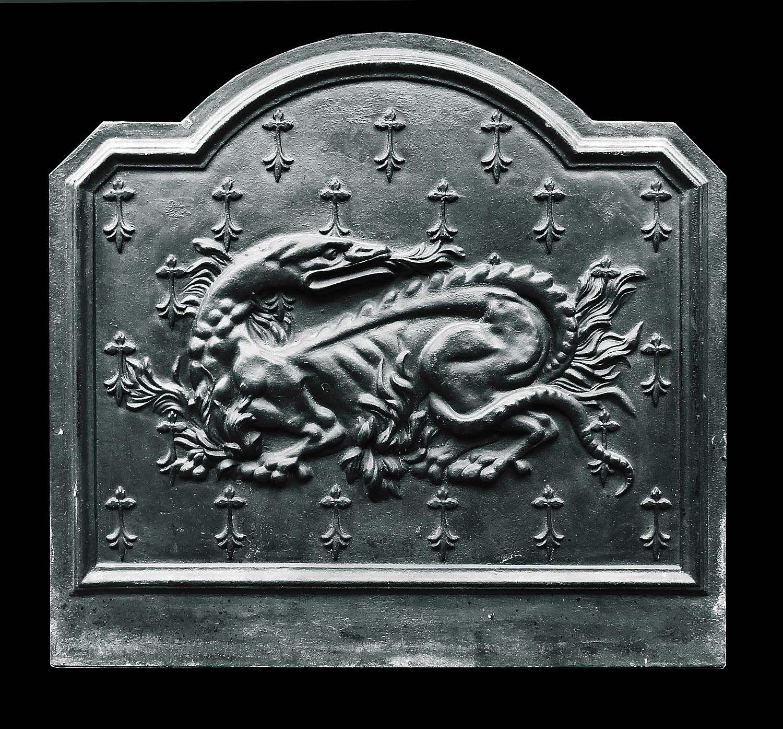 A french cast iron fireback depicting a salamander the heraldic iron biocorpaavc