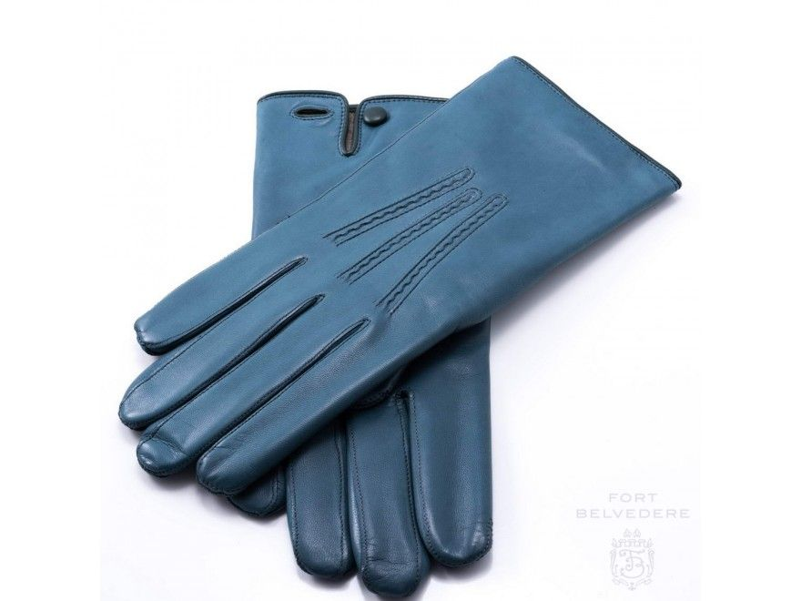 fa7521c6329 Petrol Blue Men's Gloves with Button in Lamb Nappa Leather by Fort ...