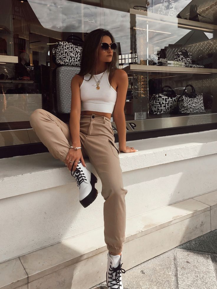 Faux Leather Lace Up Platform Combat Ankle Boots White in 2020 | Everyday outfits, Aesthetic clothes