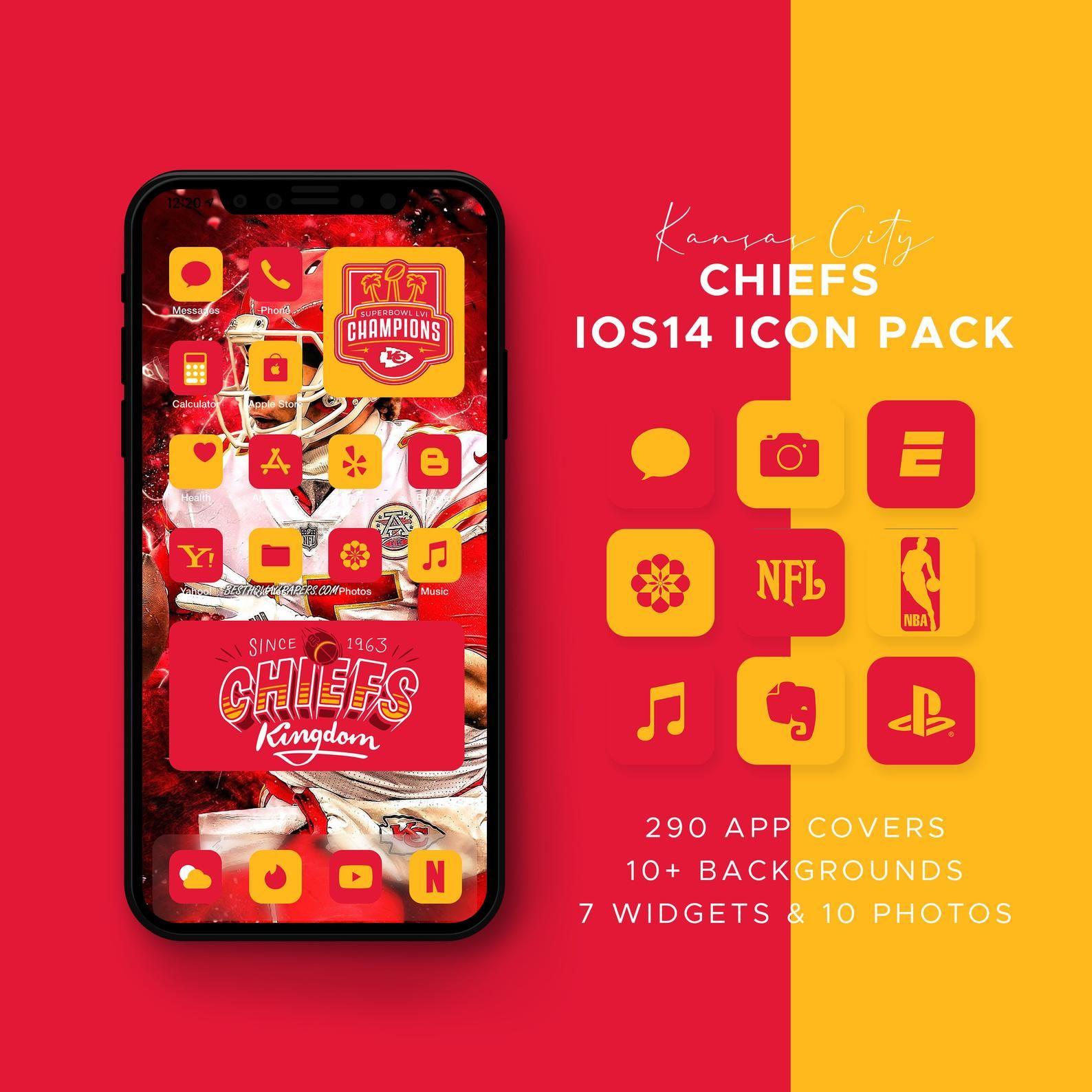 Kansas City Chiefs Ios14 Icon Theme Pack Ios14 Icons Bundle Etsy App Covers Kansas City Chiefs Themes App Home screen iphone 7 chiefs wallpaper