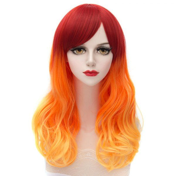 Trendy Japanese Style Side Bang Long Wavy Ombre Harajuku Lolita Synthetic  Capless Women s Cosplay Wig 857e531297