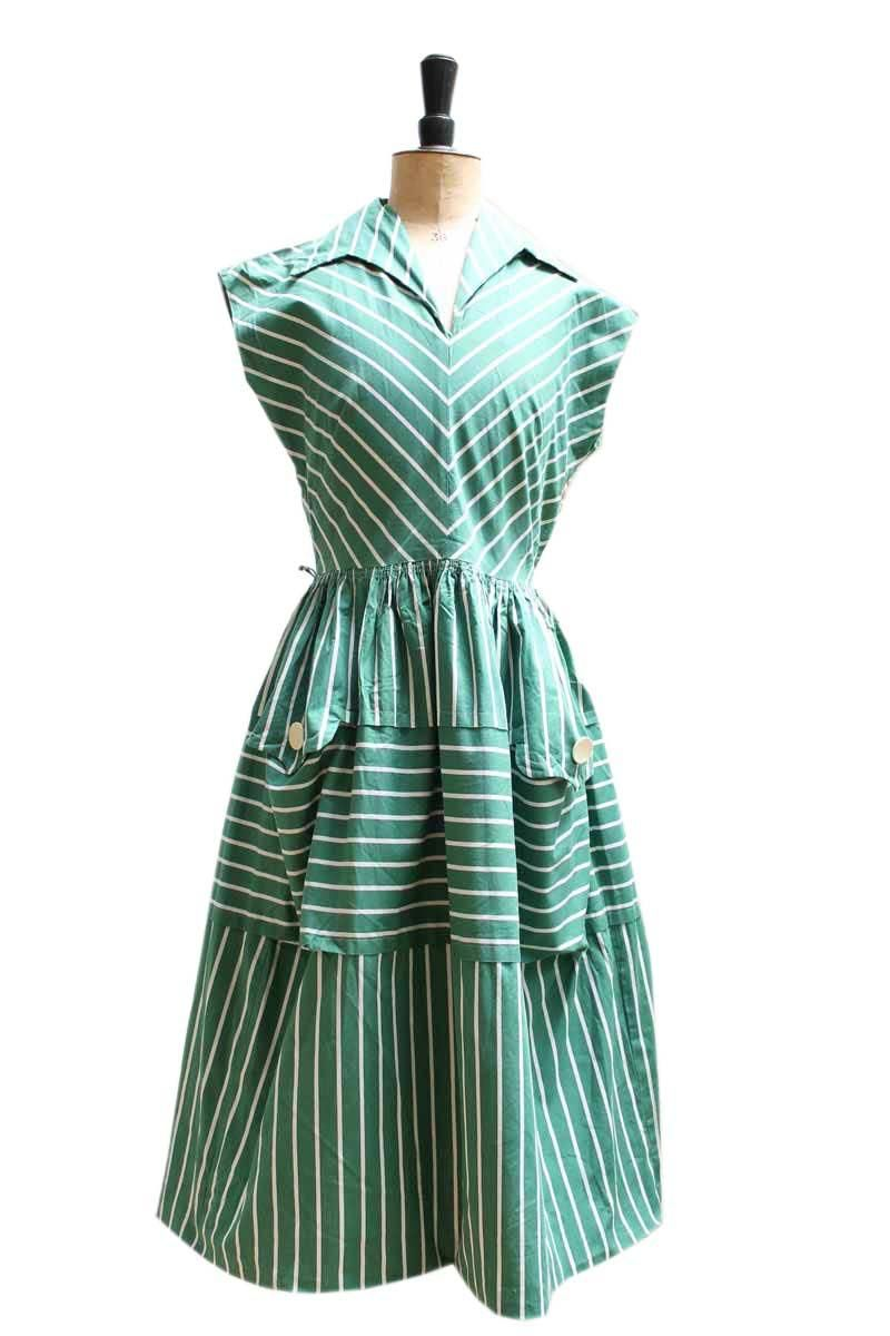 Green and white striped summer dress hand picked vintage vintage