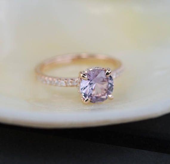 cut engagement ring peach lavender pear pin diamond sapphire eidelprecious by rose gold rings