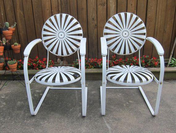 antique pair of white metal sunburst patio spring chairs francois rh pinterest com
