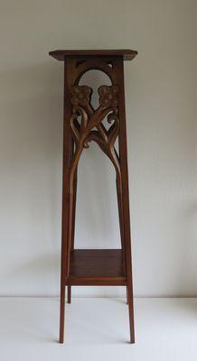 Jugendstil eikenhouten piëdestal of plantentafel met florale elementen
