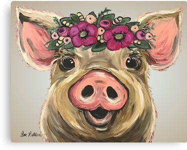'Pig Art, Pig Flower Crown Animal Art' Canvas Print by leekellerart