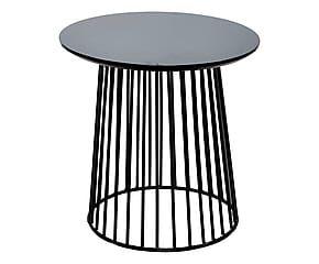 Tavolino tondo in metallo e betulla nero - 50x52 cm