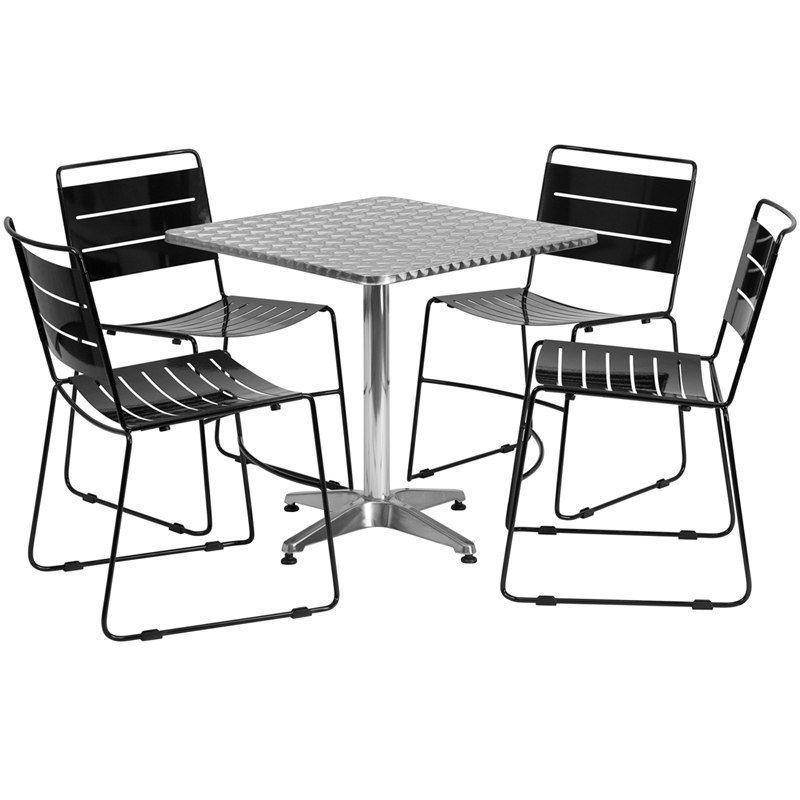 IHome Skovde Square Aluminum IndoorOutdoor Table Set W - Aluminum table and chairs for restaurant