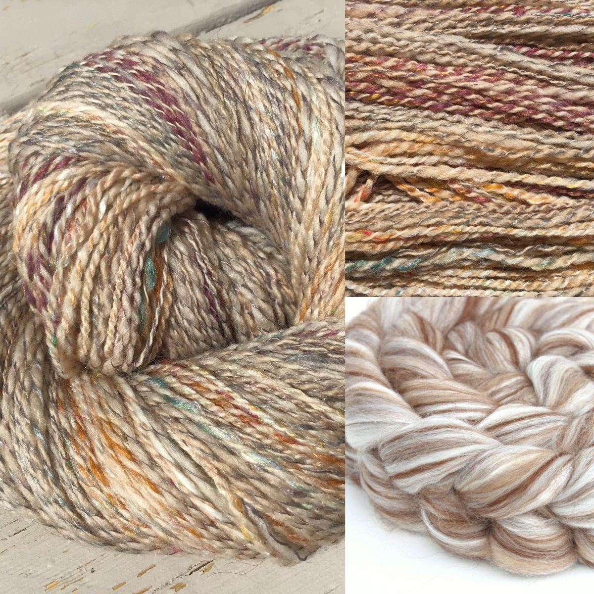 This is our beautiful natural coloured camel blend plyed with a multicolored strand of handspun.  This skein is so soft and just a little sparkly.  #handspun #handspunyarn #handspunstagram #handspunfiber #thefiberimp #merino #merinowool #spinning #wool