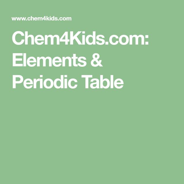 Chem4kids Elements Periodic Table Homeschool World