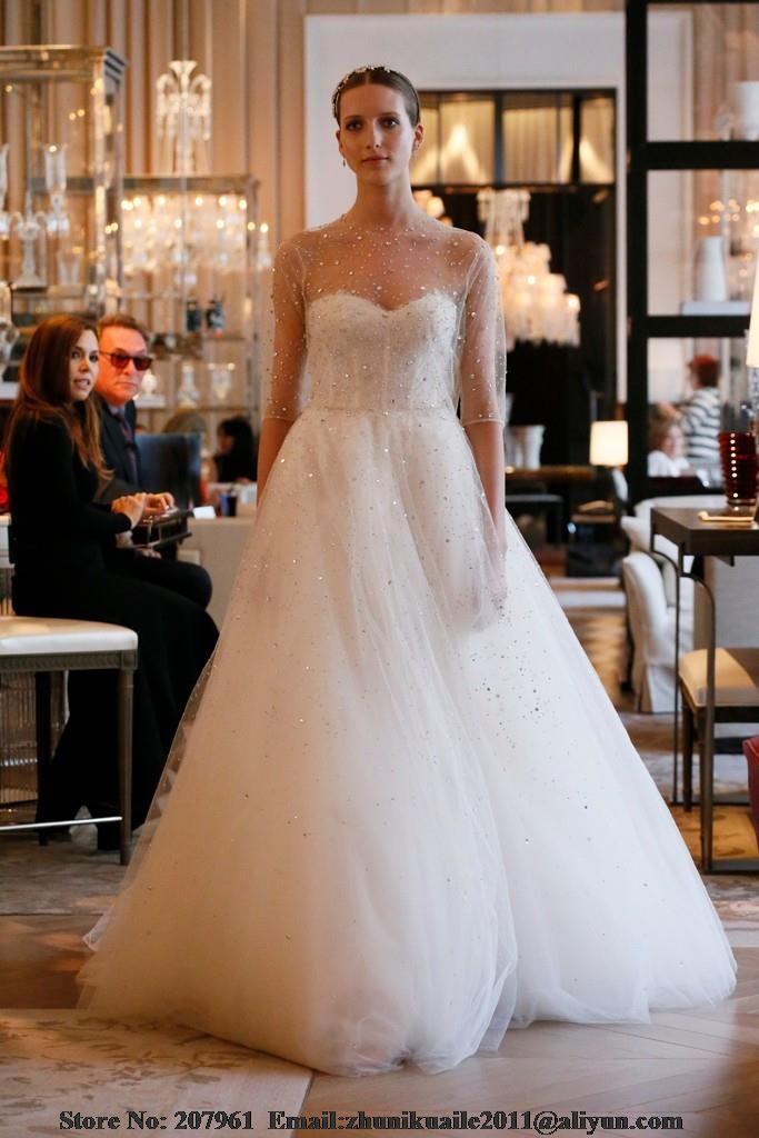 Luxury 2016 A-line Wedding Dress Tulle with Sparkling Crystals Half Sleeves See Through Sweetheart Neck Corset Bridal Gowns