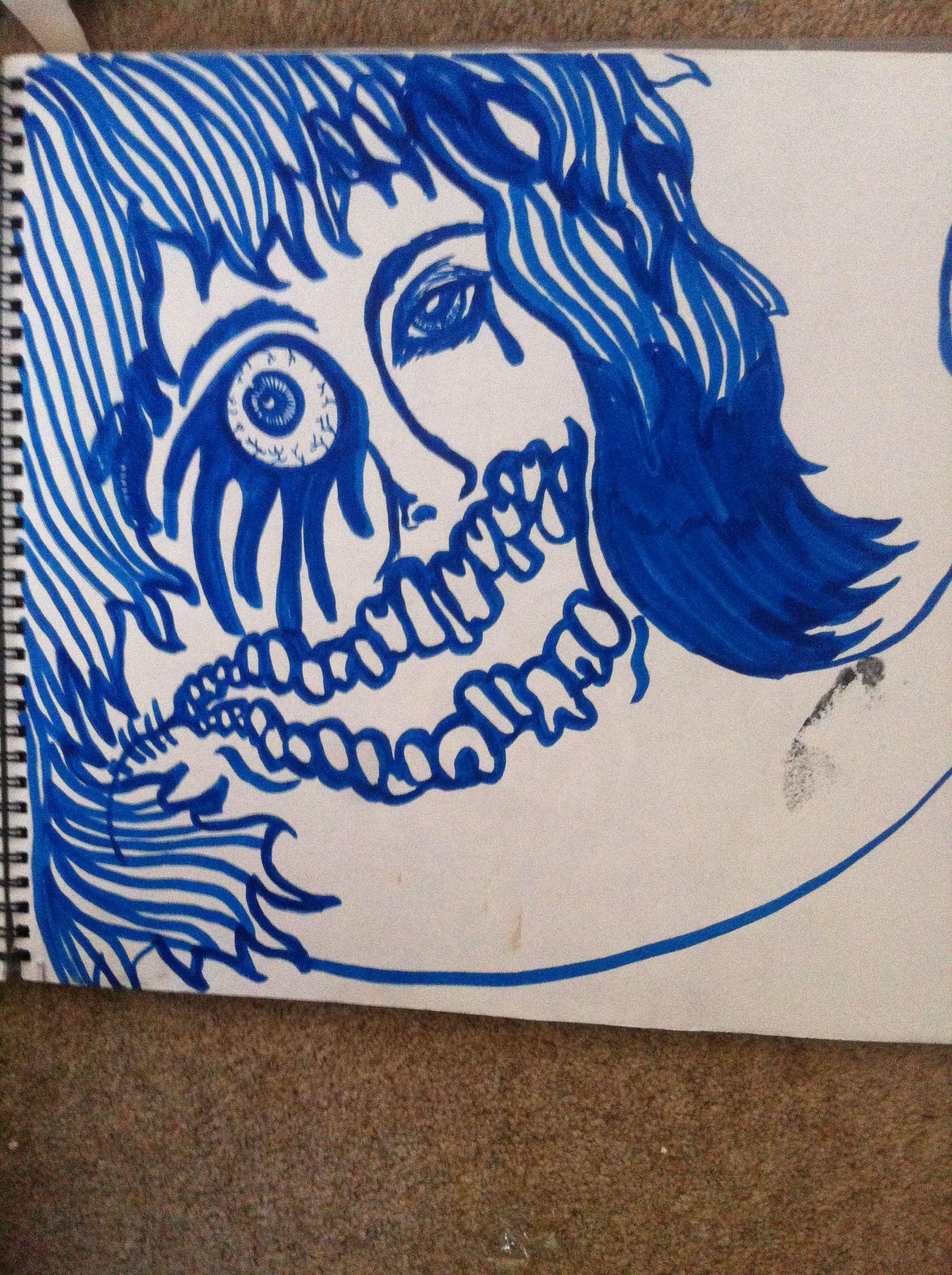 Doodling in blue.