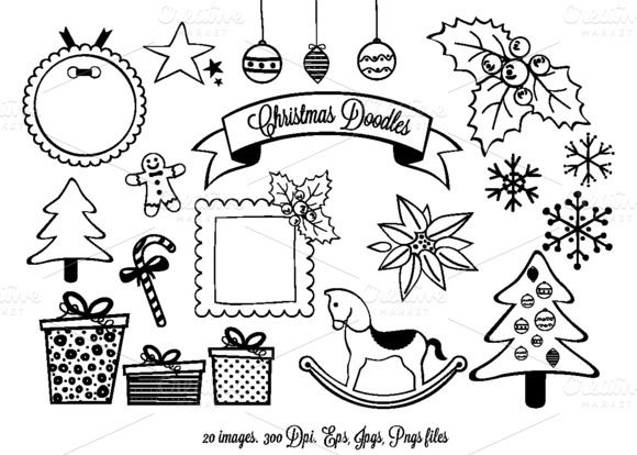 check out christmas doodles clipart by delagrafica on creative rh pinterest com Doodle Border Clip Art Doodle Border Clip Art