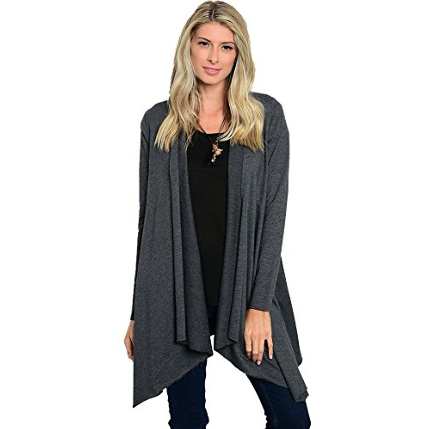 JED Women's Charcoal Long Sleeve Cotton Cardigan * Learn more by ...