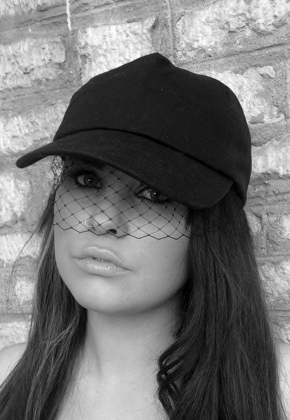 Rihanna Black baseball cap with fascinator by PrettyLittleAttire ... 11104677e7f3