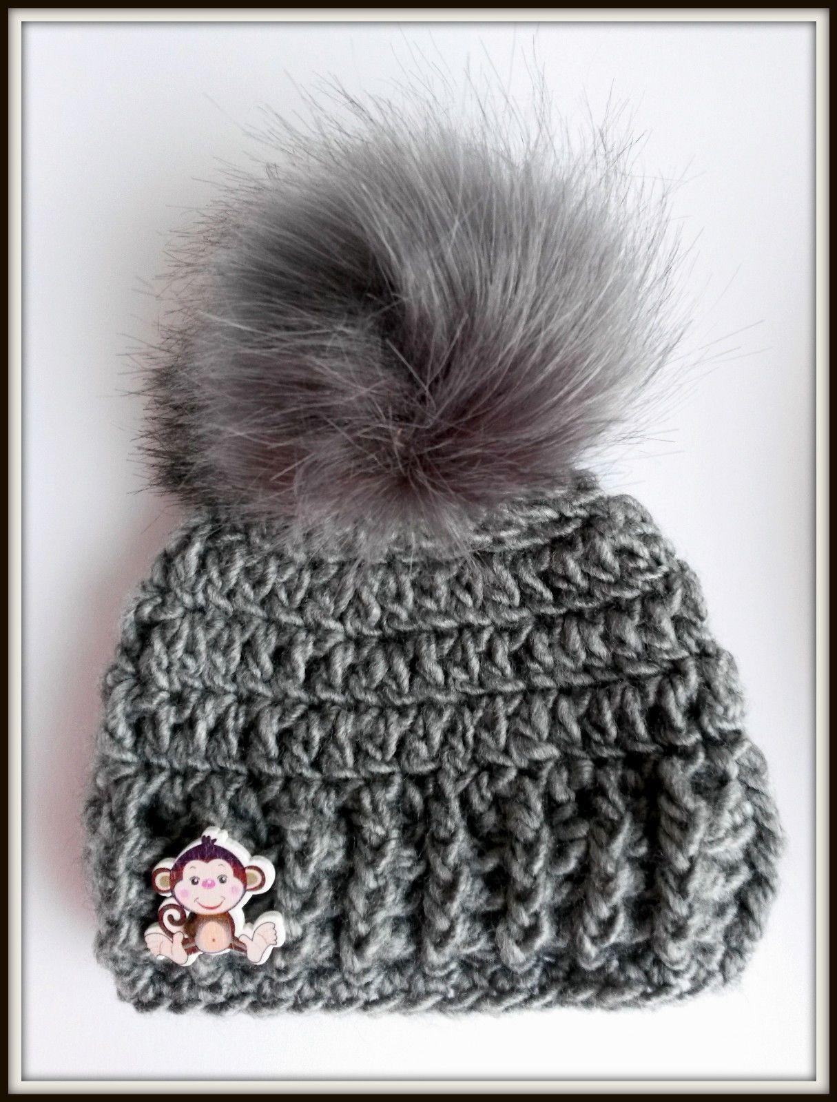 d5b1957a3e6 Handmade Little Monkey fur pom pom baby photo prop Hat size newborn 0-3  months