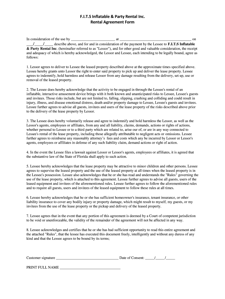 Bounce House Rental Contract Fill Online Printable Fillable Regarding Bounce House Rental Agreemen Rental Agreement Templates Bounce House Rentals Bounce House