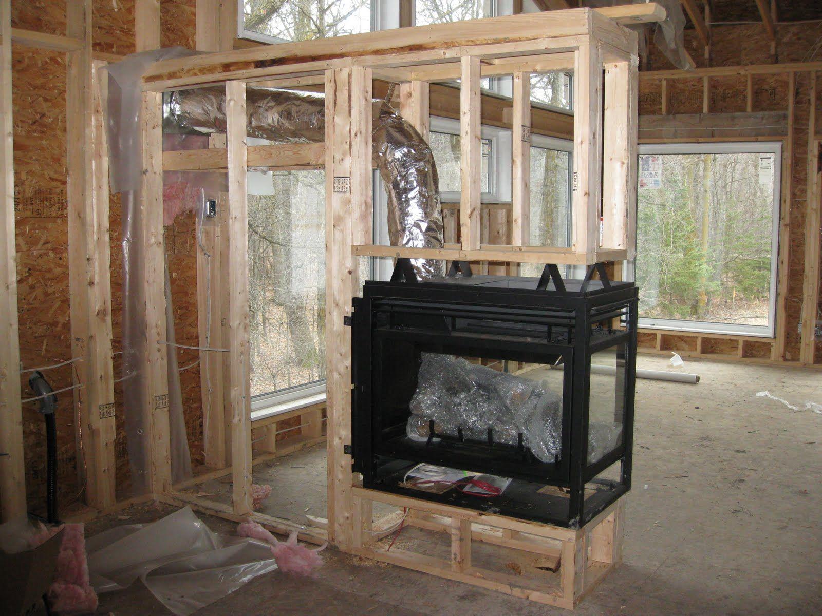 Modern 3 Sided Fireplace
