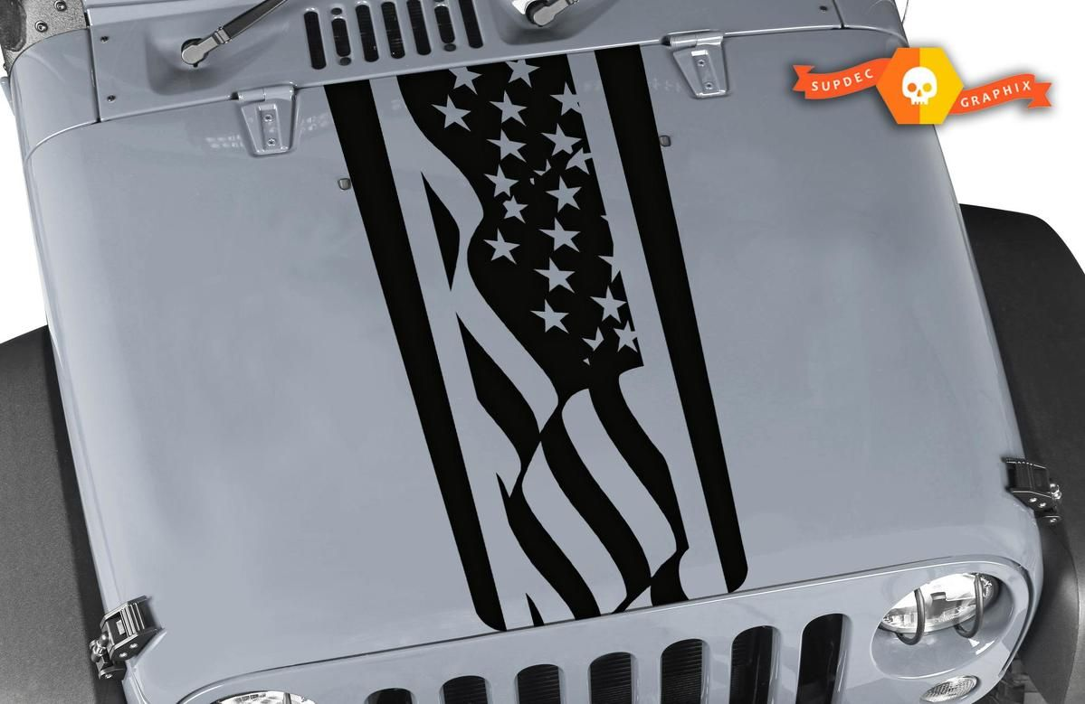 Jeep Wrangler Tj Lj Jk American Flag Stripes Vinyl Hood Decal Sticker Car Truck Jeep Wrangler Wrangler Tj Jeep Wrangler Tj