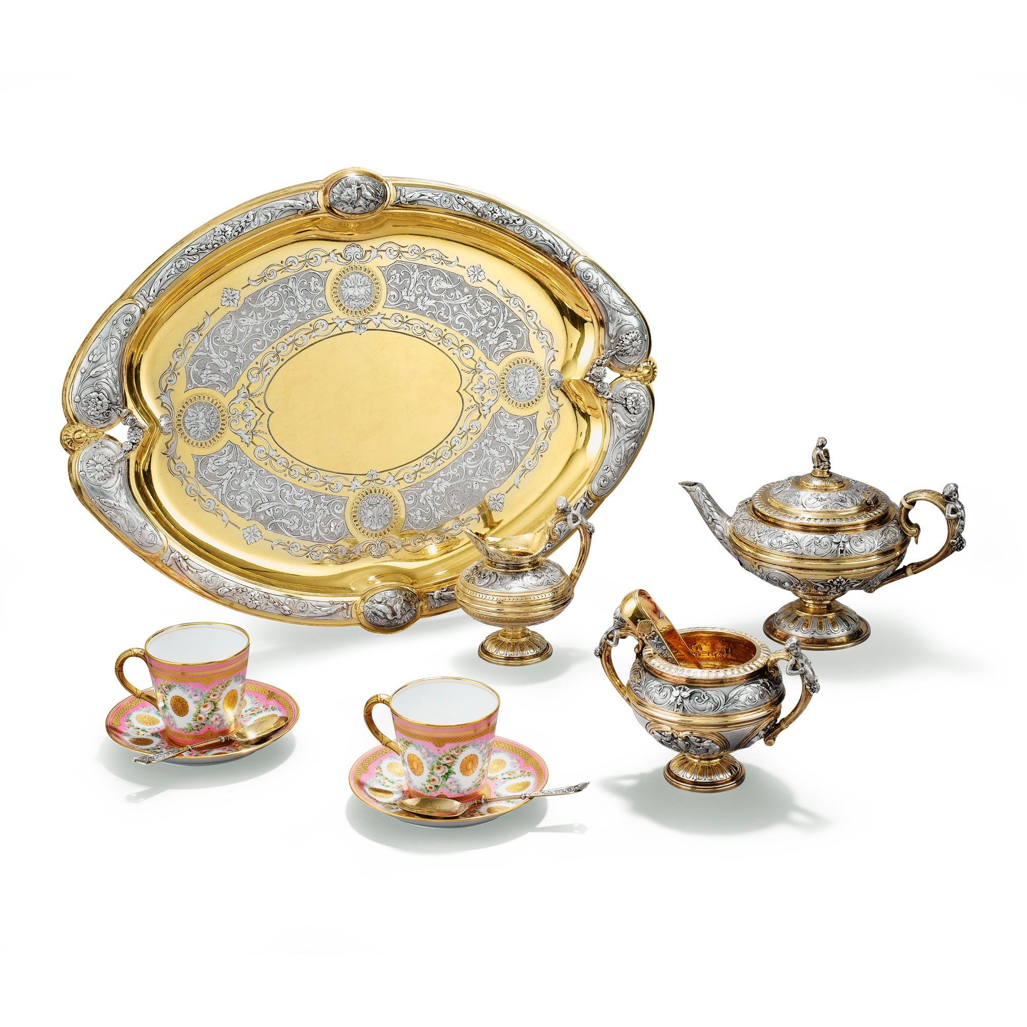 AN ENGLISH GOLD AND SILVER-PLATED BACHELOR'S TEA SET, ELKINGTON, BIRMINGHAM, CIRCA 1880