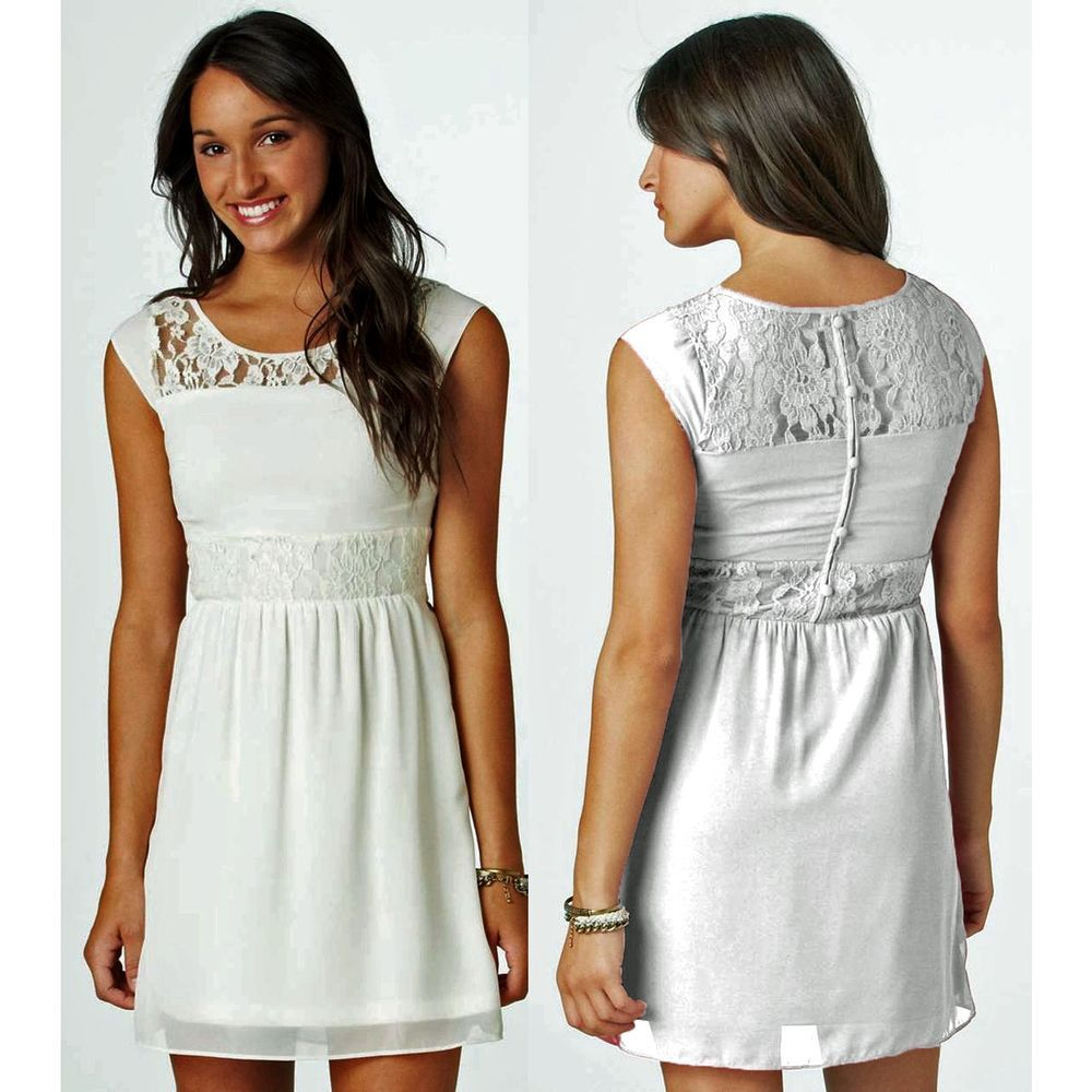 NWT AE Paneled Lace Dress size 14 Chalk Womens L Large American Eagle New $50