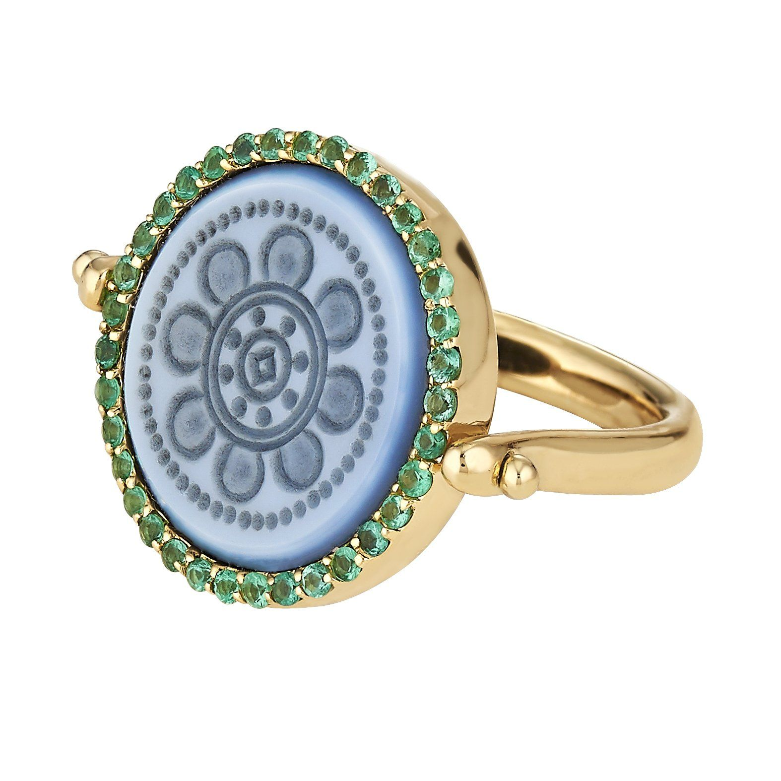 One of a kind 18k bespoke flip ring with pave emerald bezel. 16mm round stone. This new version of our classic signet ring can be designed with any crest or motif. Intaglio carved in Spain & handcrafted in NYC. Personalized and custom designed by ASHA. Once your order is placed, an ASHA team member will reach out to gather personal details & design criteria to present you with a bespoke sketch for approval. Additional fees incurred for second engraving on flip side. Once finalized, your ring wil